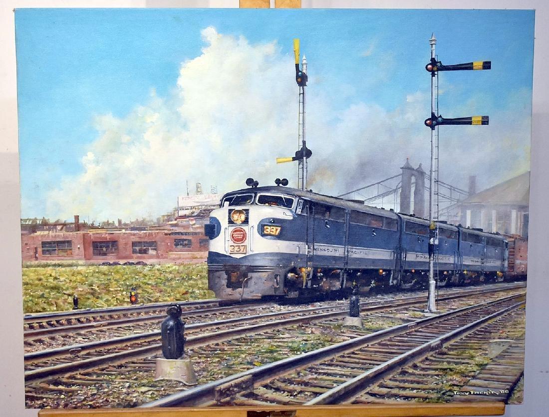 Tony Fachet. Oil on Panel, Missouri Pacific Lines 337