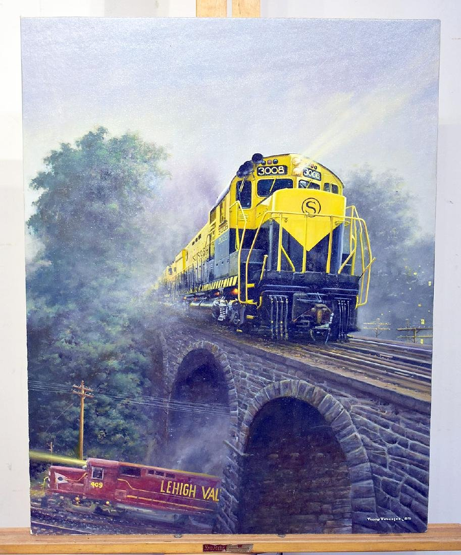 Tony Fachet. Oil on Panel, Railroad Bridge