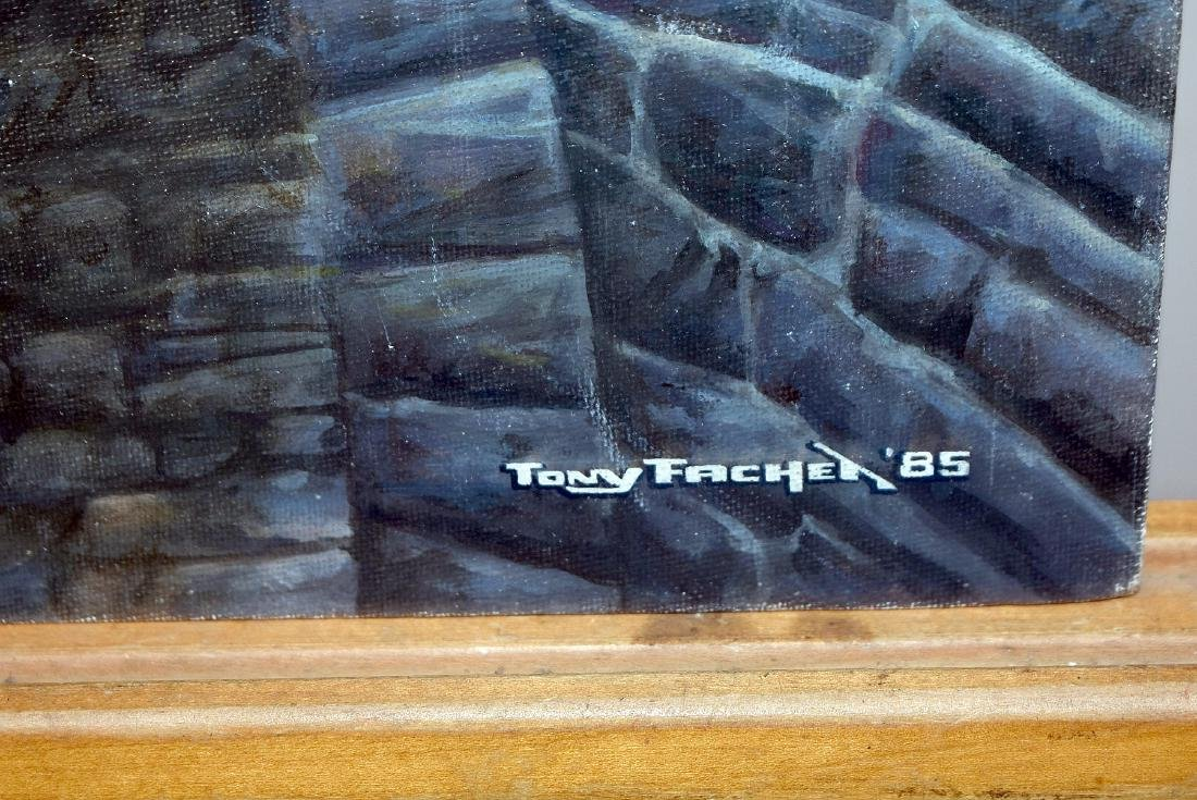 Tony Fachet. Oil on Panel, Railroad Bridge - 3
