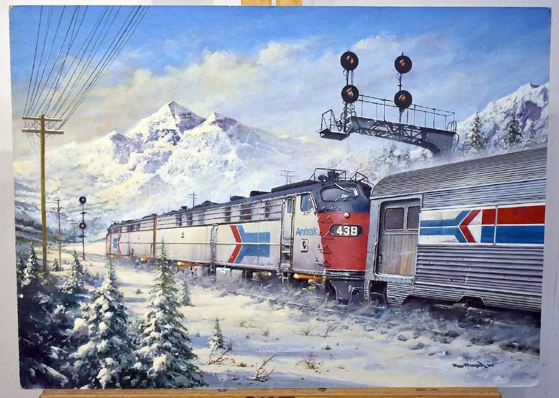 Tony Fachet. Oil on Panel, Amtrak in Winter Landscape