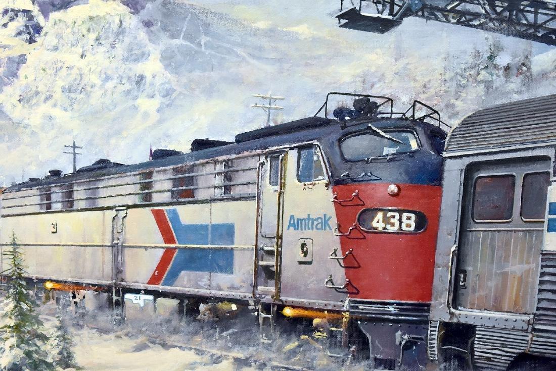 Tony Fachet. Oil on Panel, Amtrak in Winter Landscape - 2