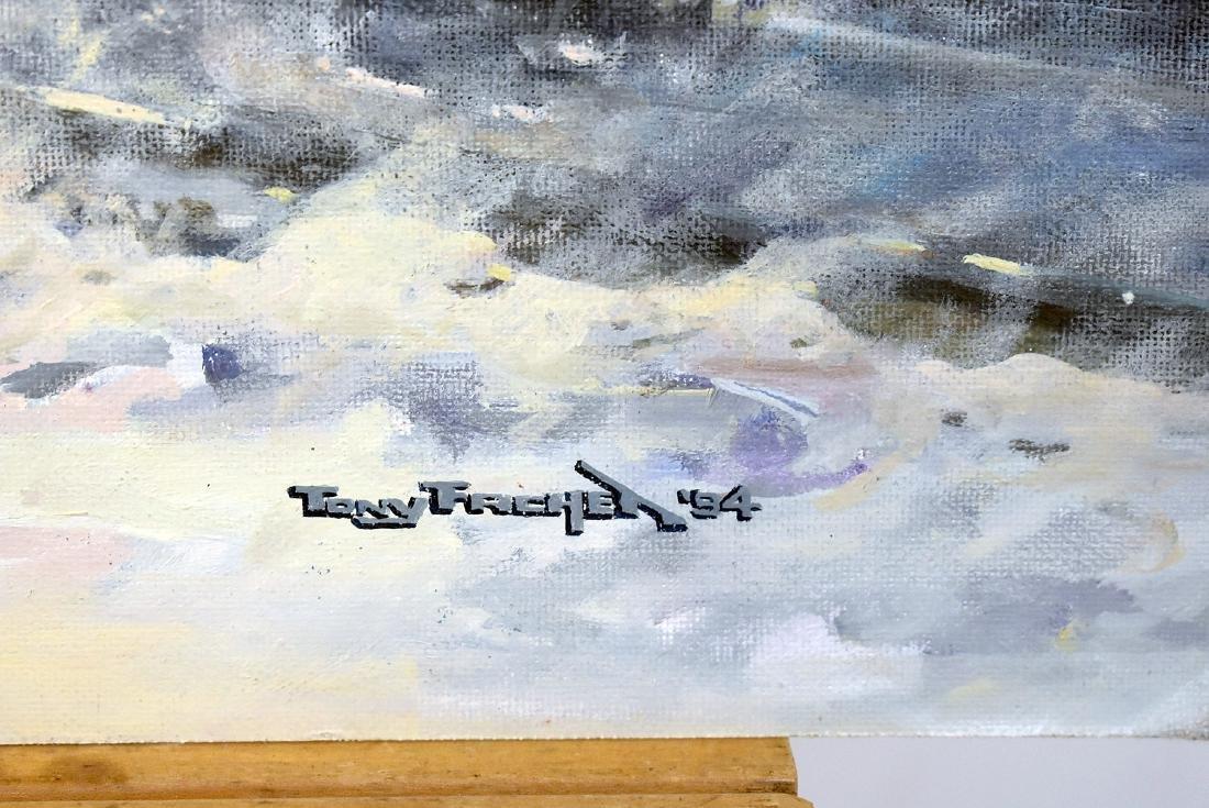 Tony Fachet. Oil on Panel, Amtrak in Winter Landscape - 3