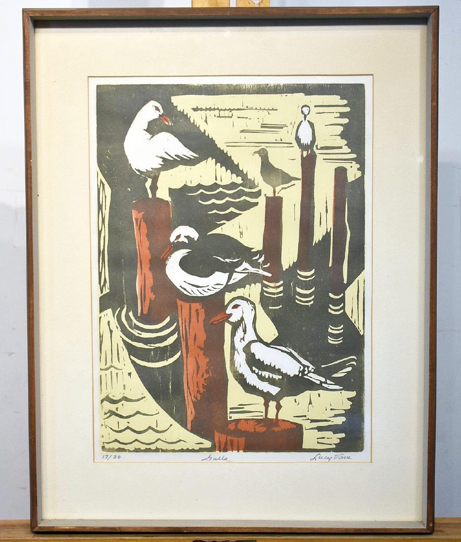 Lucy Vane .Woodblock on Paper, Gulls