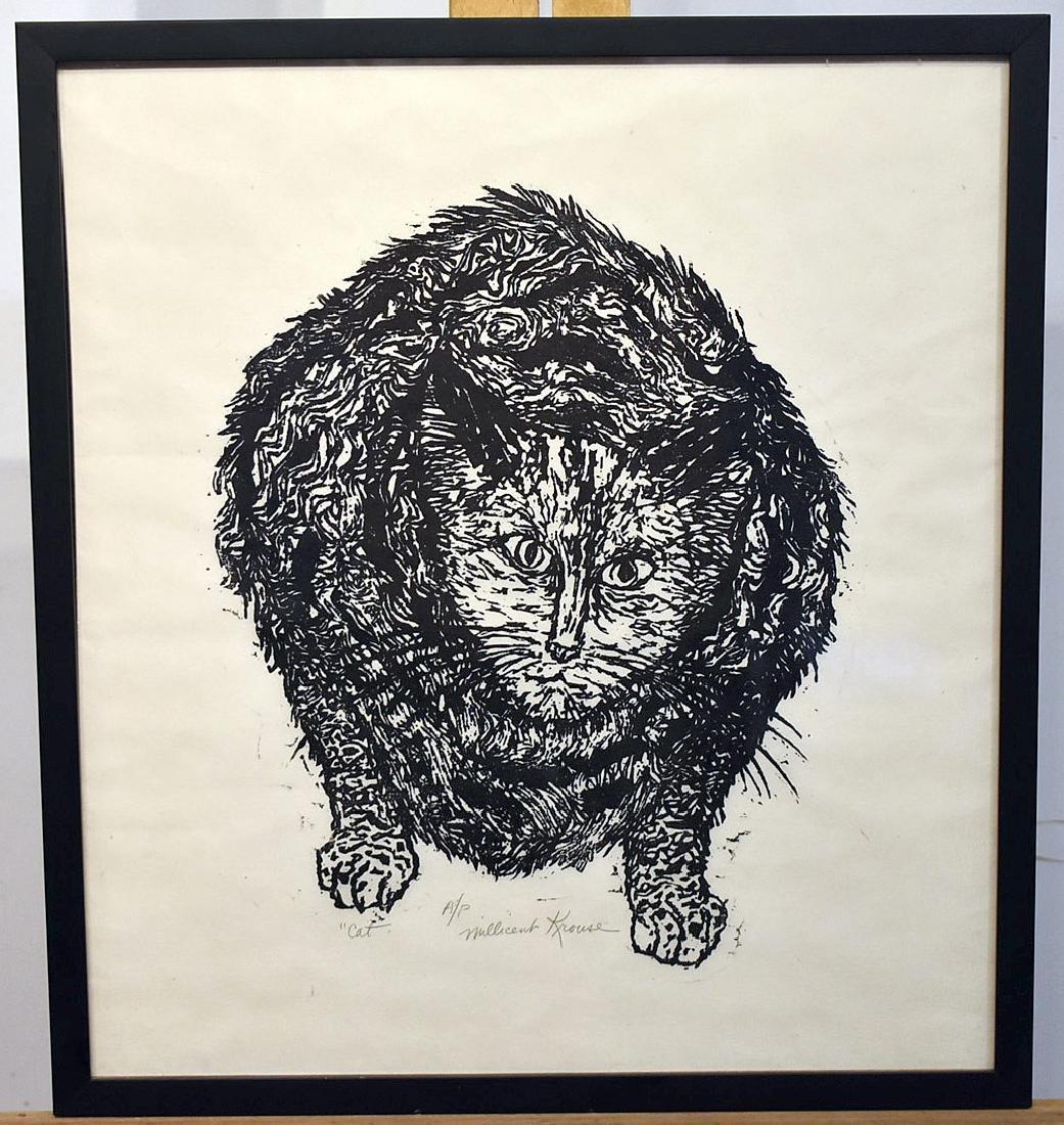 Millicent Krouse. Woodcut, Cat