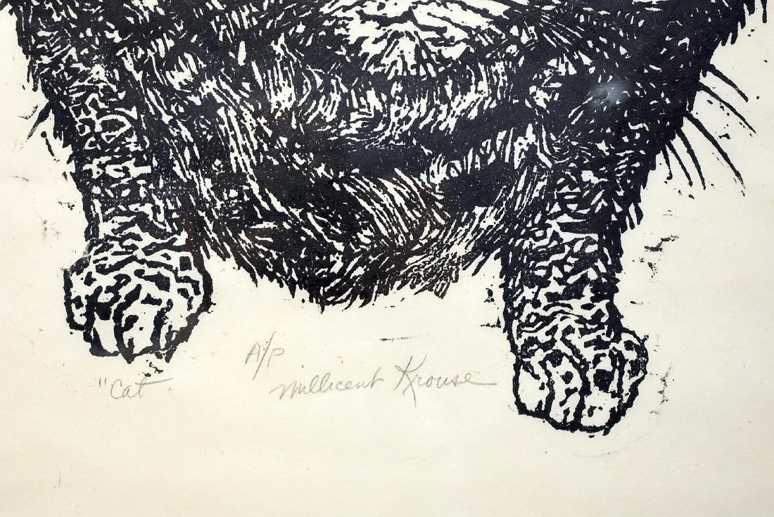 Millicent Krouse. Woodcut, Cat - 2