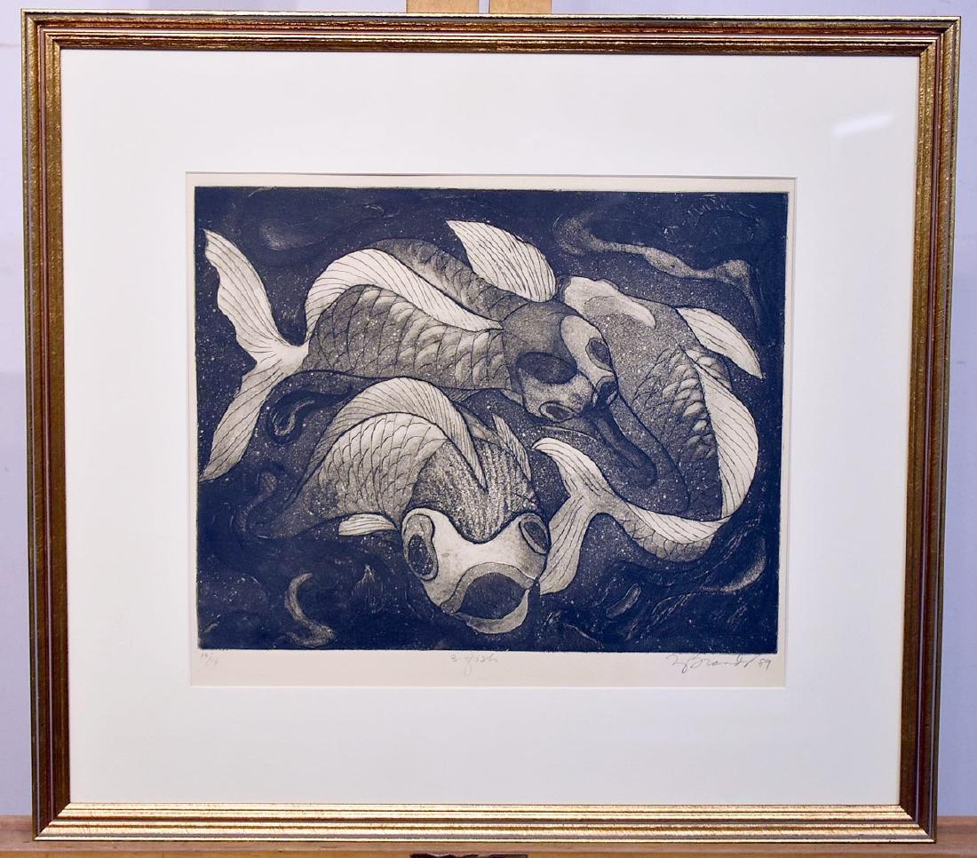 Ruth Brandt. Etching, 3 Fish