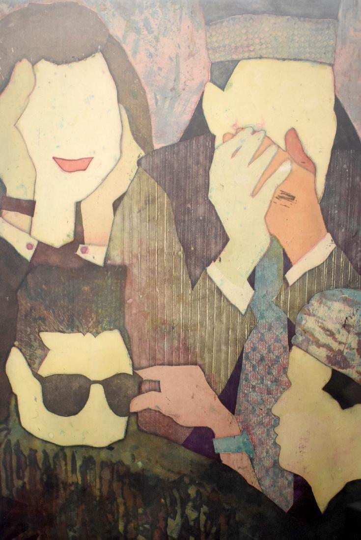 Yuji Hiratsuka. Etching, Three Stances - 2