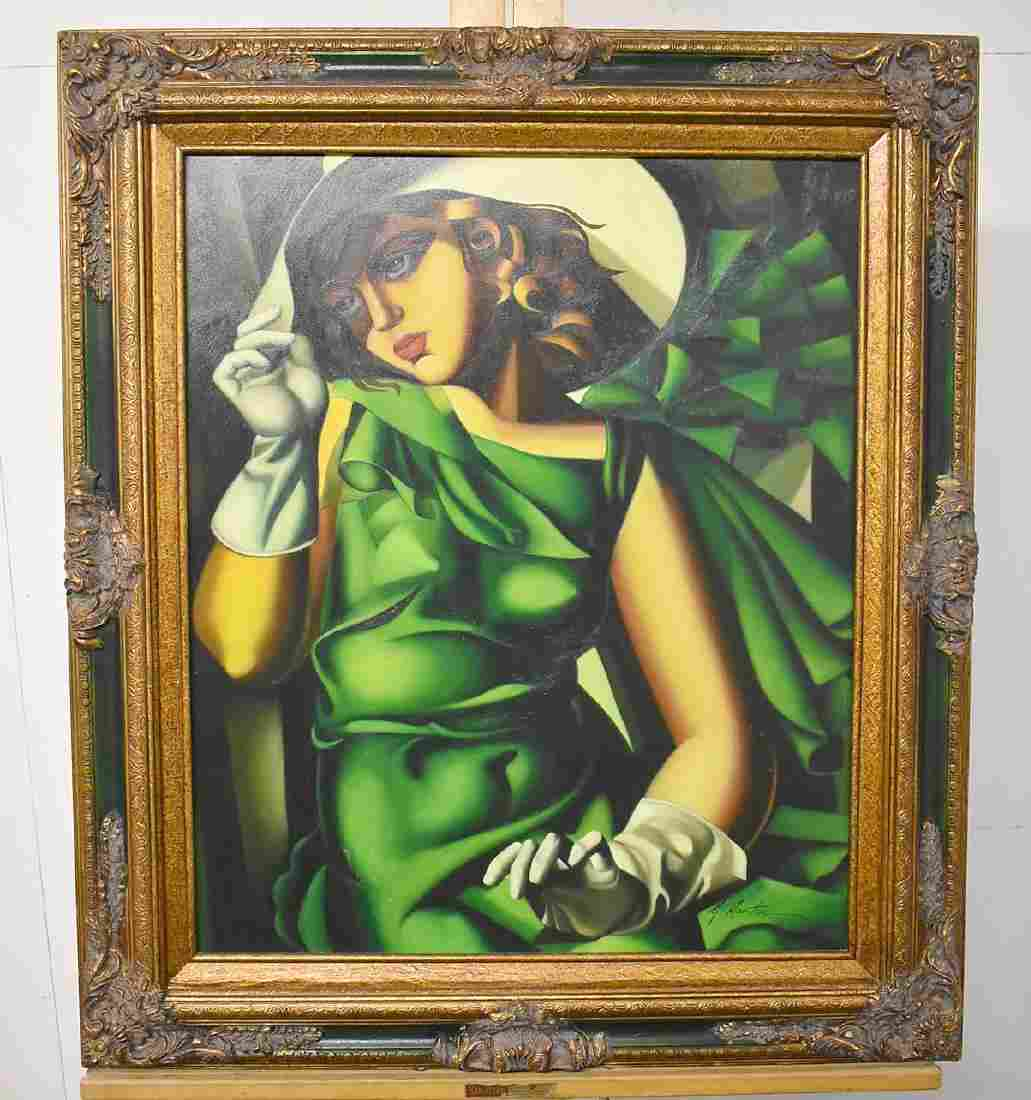 H. Martin. Oil on Canvas, Young Girl in Green