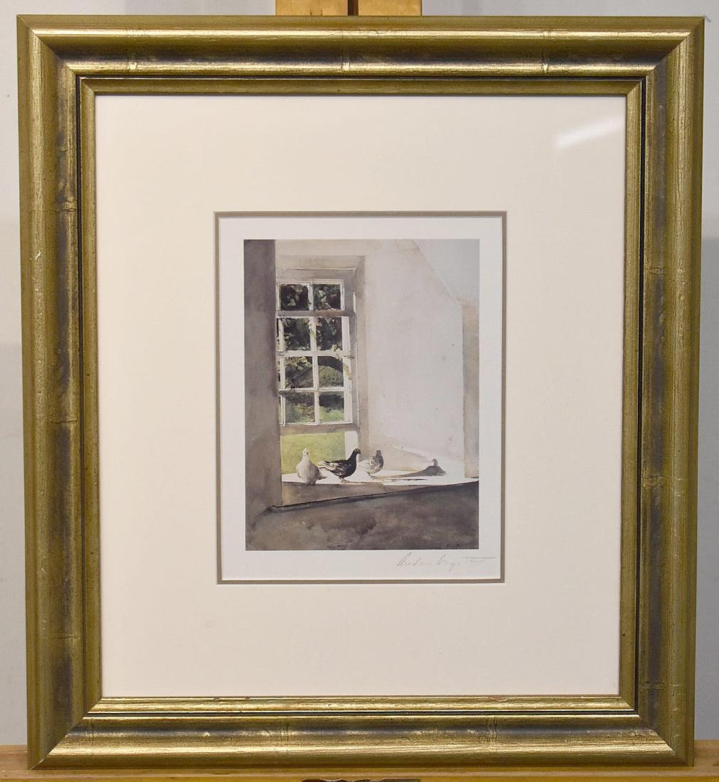 Pencil Signed Andrew Wyeth Print, Windowsill