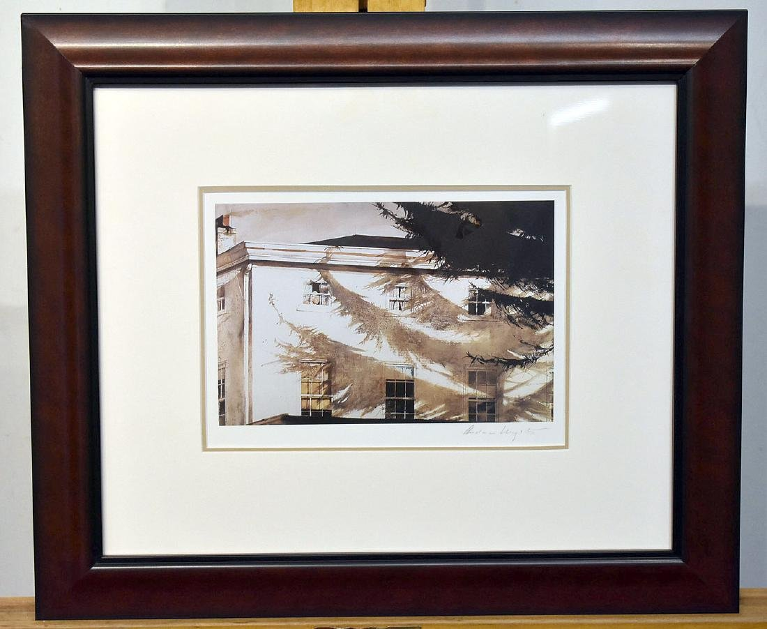Pencil Signed Andrew Wyeth Print, Building