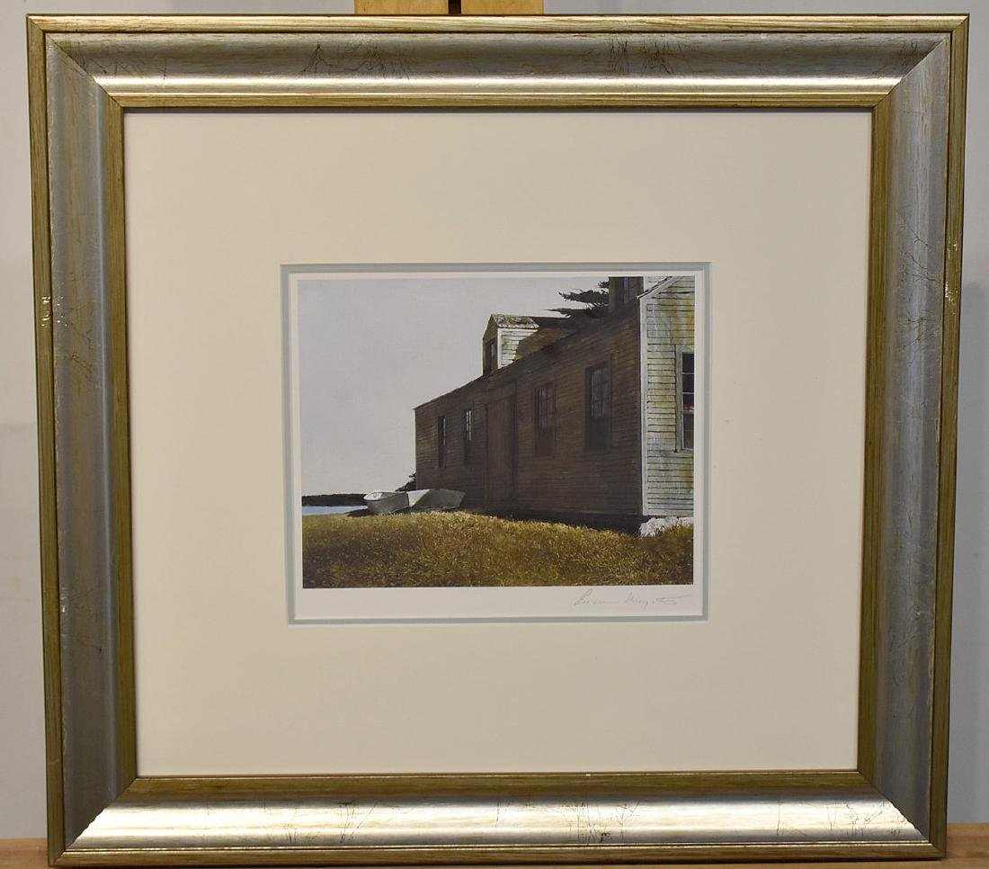Pencil Signed Andrew Wyeth Print, Building & Boat
