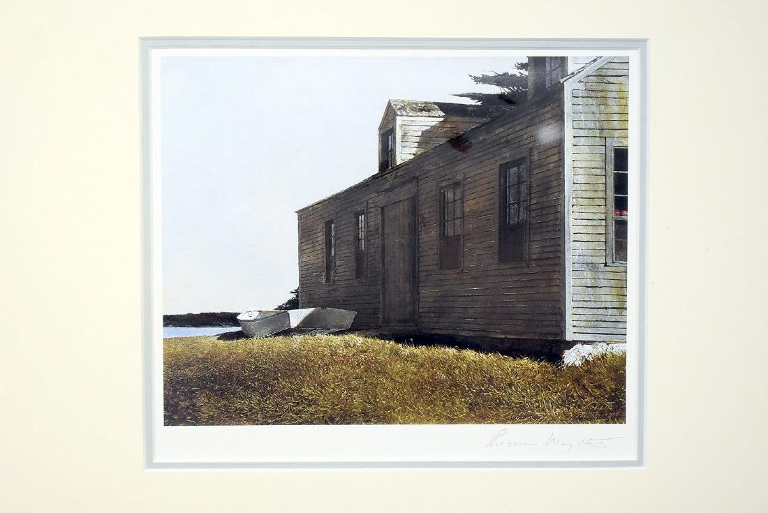 Pencil Signed Andrew Wyeth Print, Building & Boat - 2