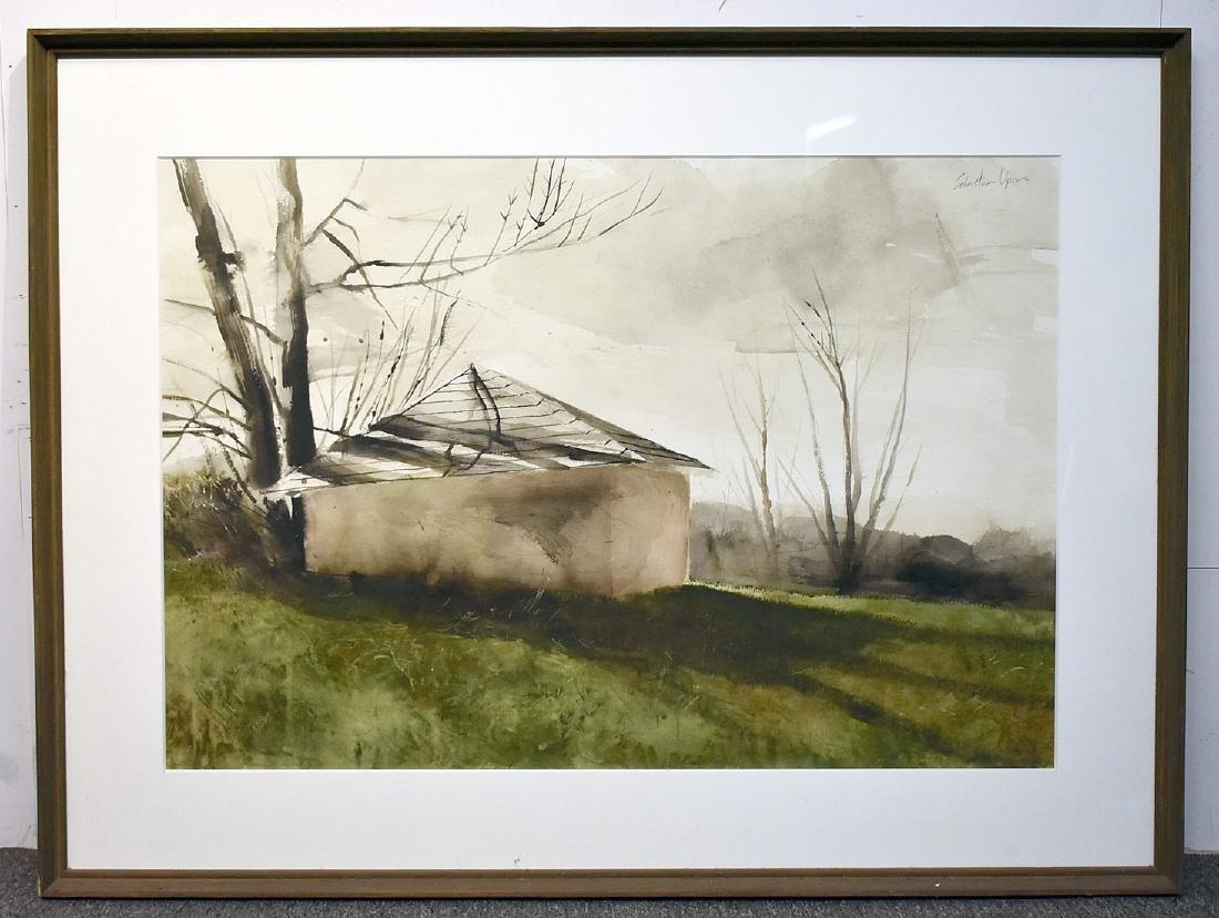 Sebastian Upson. Watercolor, Octagonal Schoolhouse