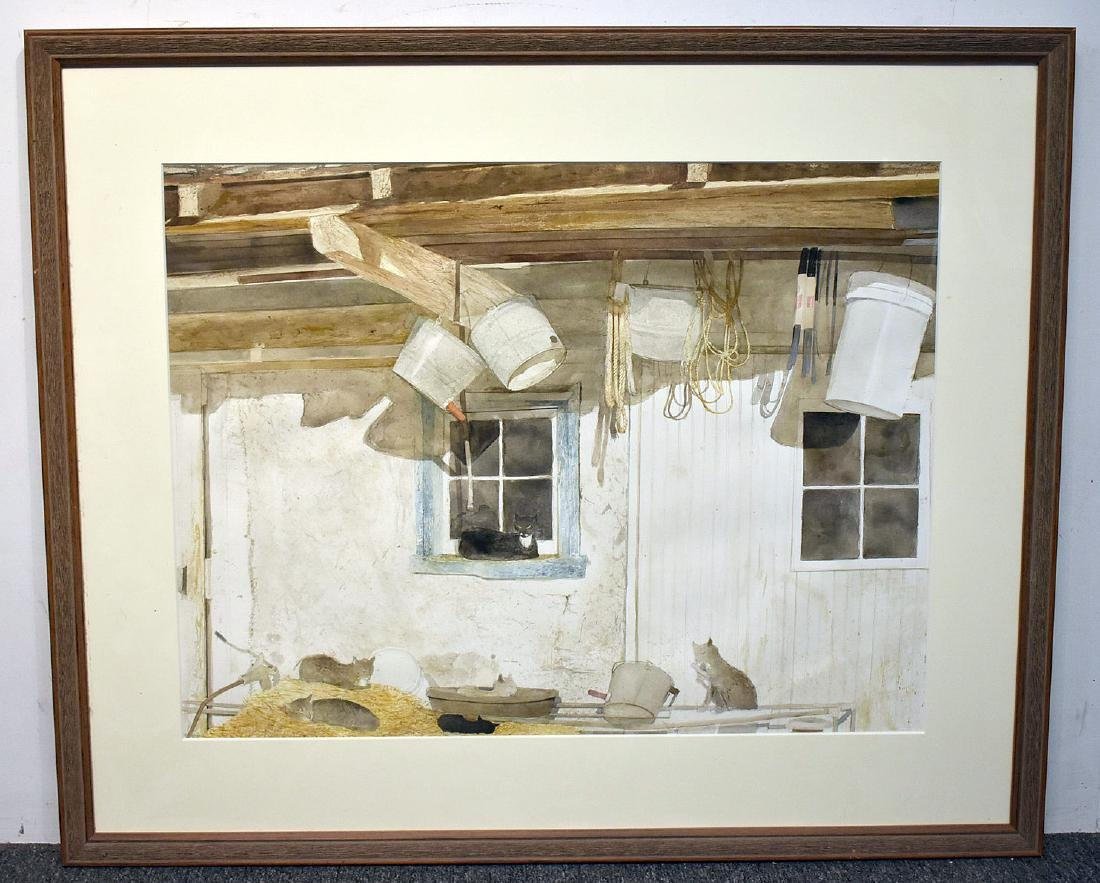 Sebastian Upson. Watercolor, Barn Cats