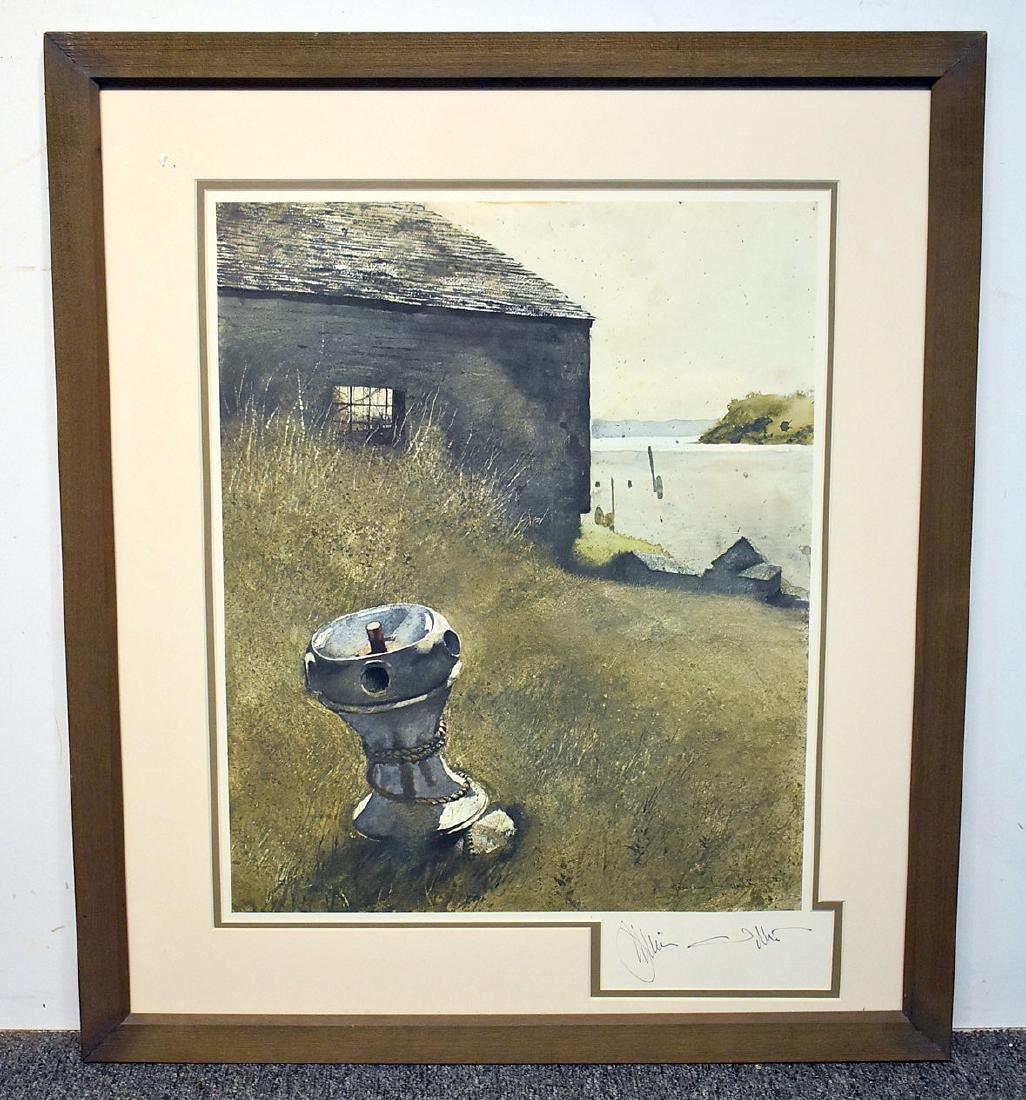 Signed Jamie Wyeth Print, The Capstan