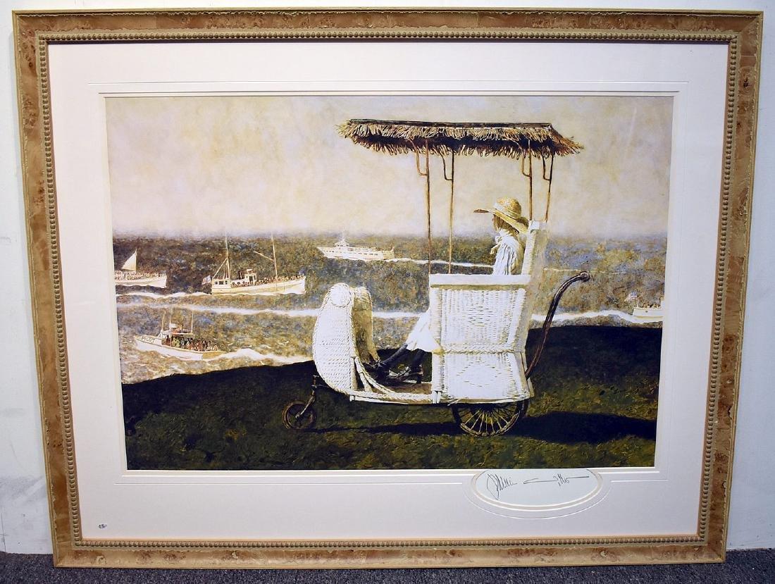 Signed Jamie Wyeth Print, Rolling Cart