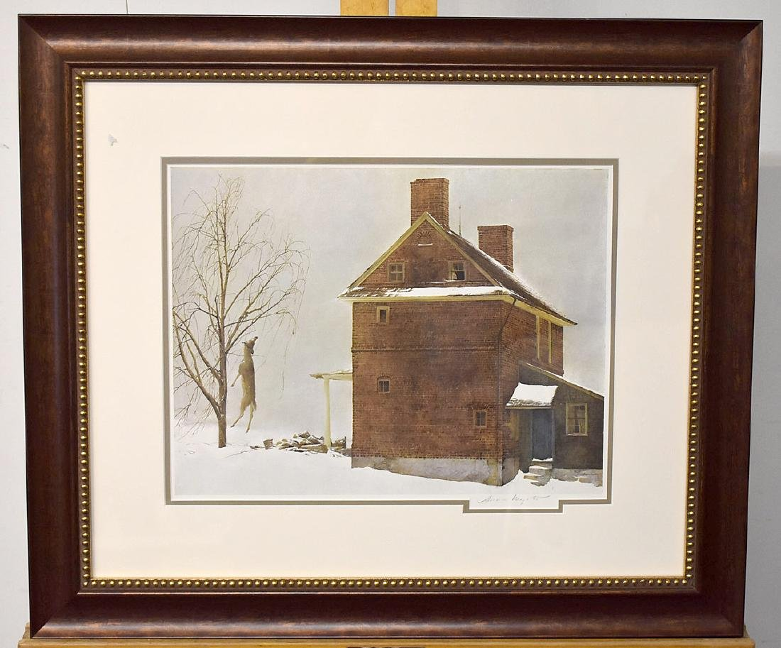 Pencil Signed Andrew Wyeth Print, Tenant Farmer