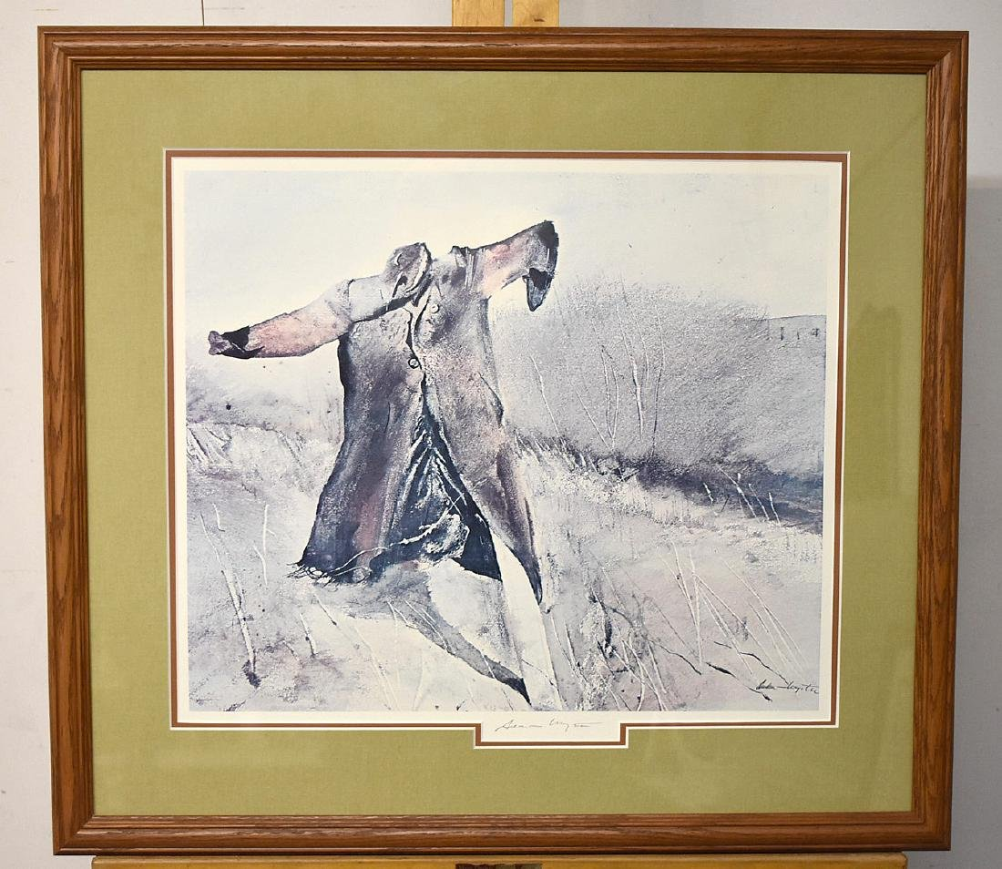 Signed Andrew Wyeth Print, Benny's Scarecrow