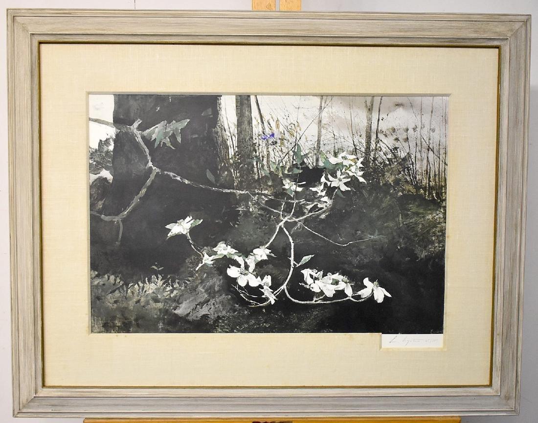 Signed & Numbered Andrew Wyeth Print, Dogwood