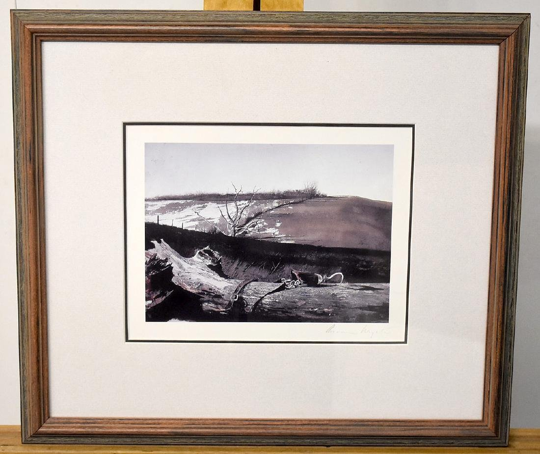 Signed Andrew Wyeth Print, Farm Landscape