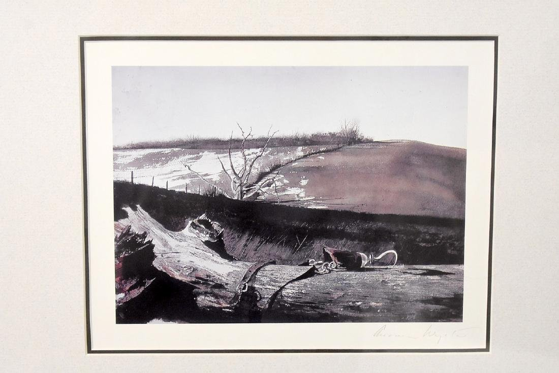 Signed Andrew Wyeth Print, Farm Landscape - 2