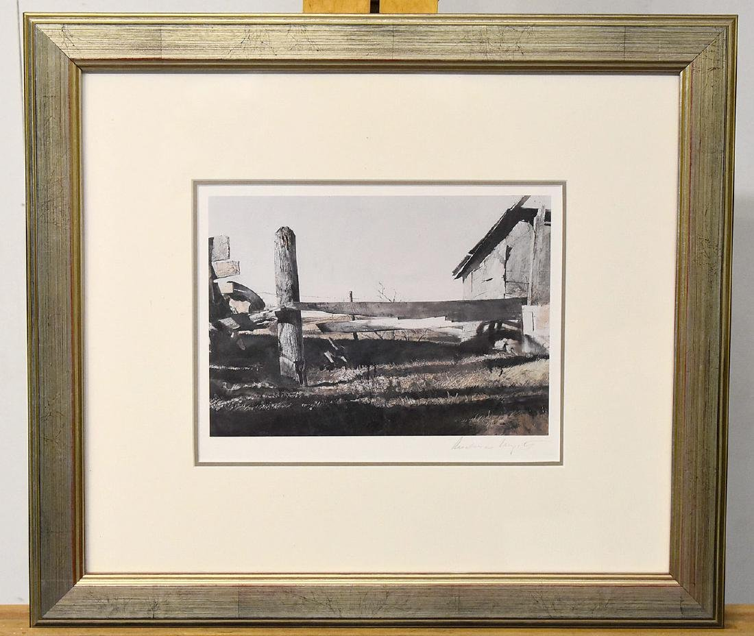 Signed Andrew Wyeth Print, Fence