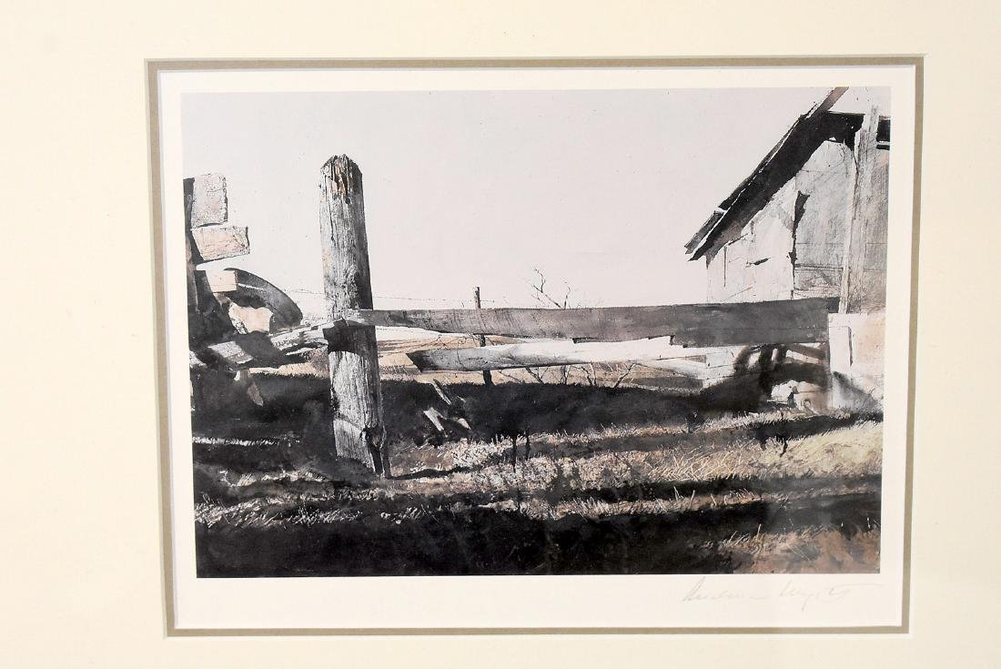 Signed Andrew Wyeth Print, Fence - 2