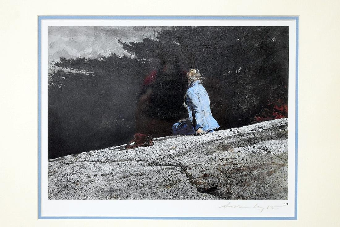 Signed Andrew Wyeth Print, Woman in Blue Jacket - 2