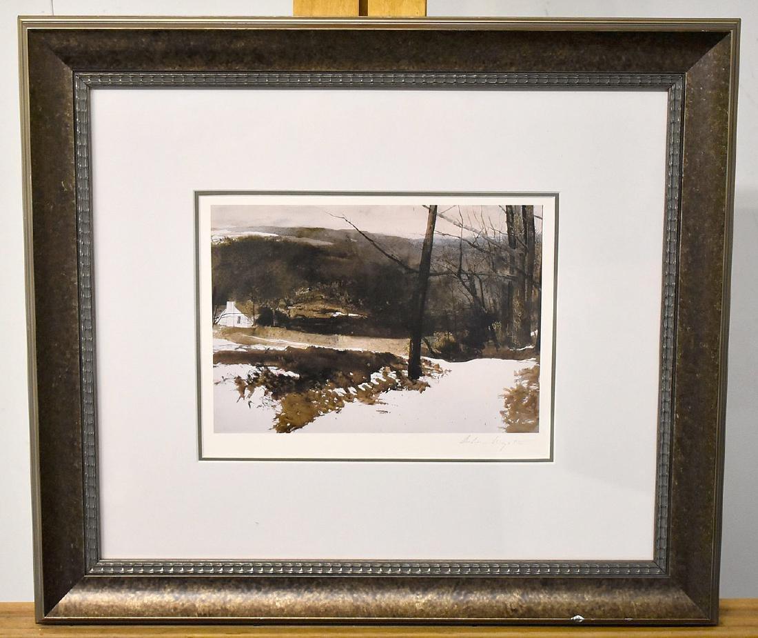 Signed Andrew Wyeth Print, Winter Farm Landscape