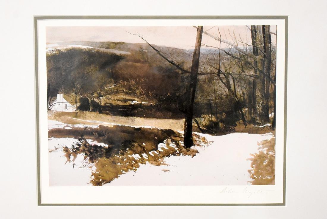 Signed Andrew Wyeth Print, Winter Farm Landscape - 2
