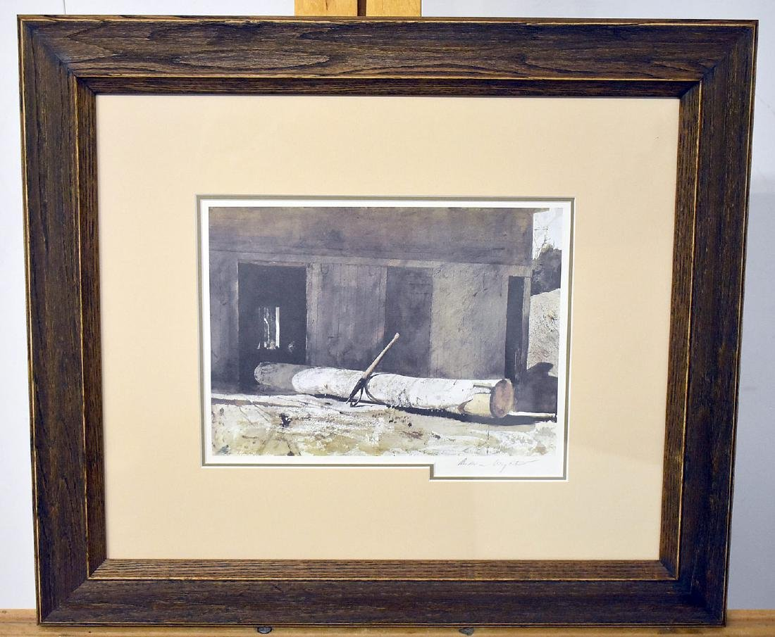 Signed Andrew Wyeth Print, Farm Landscape