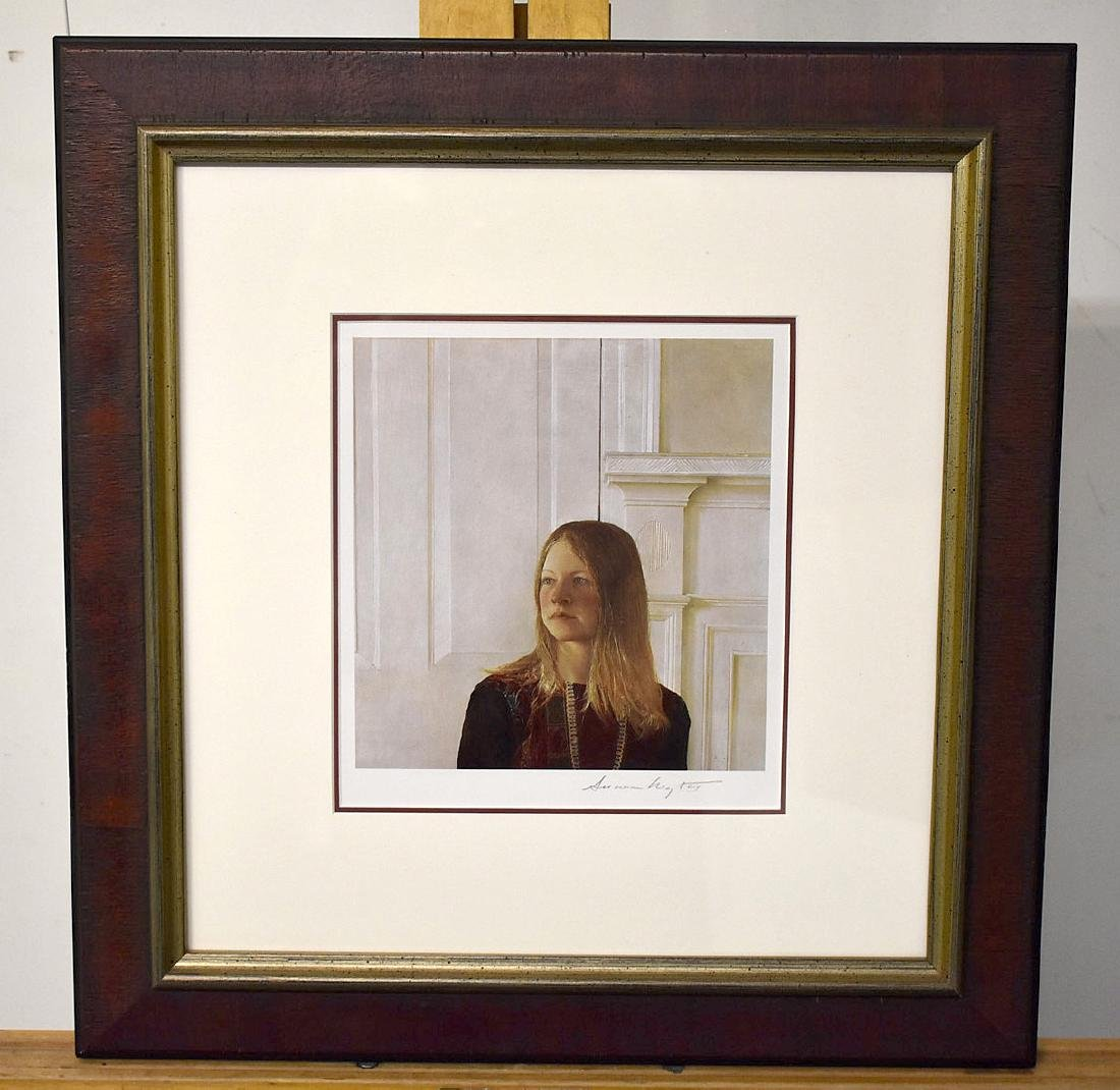Signed Andrew Wyeth Print, Portrait of a Girl