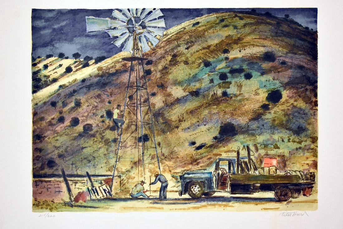 Peter Hurd. Signed Lithograph, Windmill Landscape