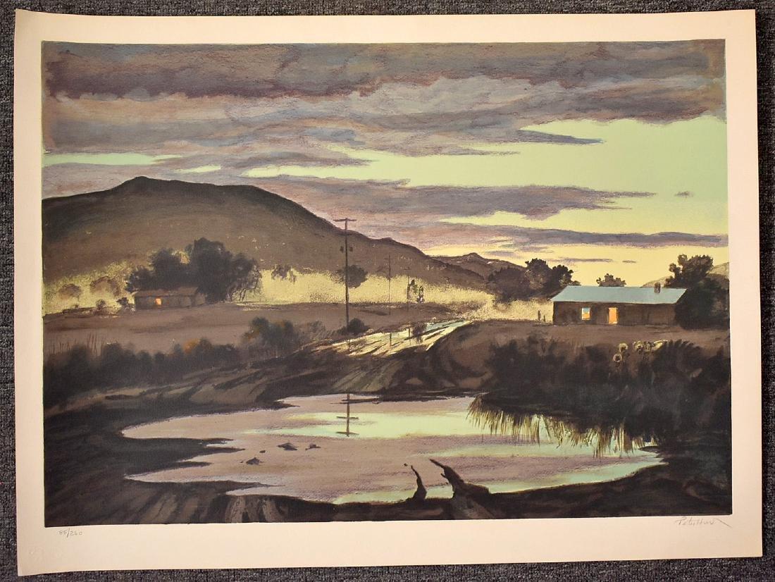 Peter Hurd. Signed Lithograph, Evening Landscape