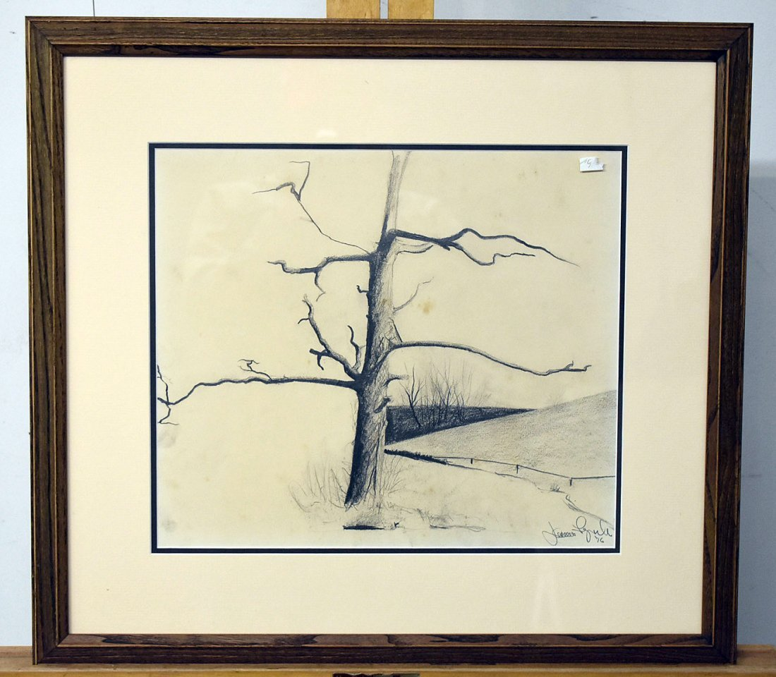 James Lynch. Charcoal/Paper, Landscape with Tree
