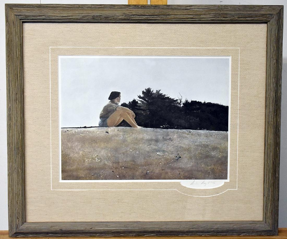 Signed Andrew Wyeth Print, Landscape with Figure
