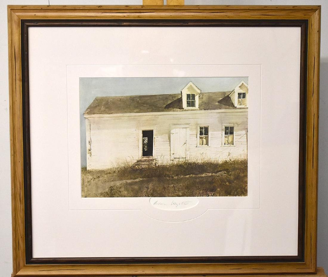 Signed Andrew Wyeth Print, Landscape with Building