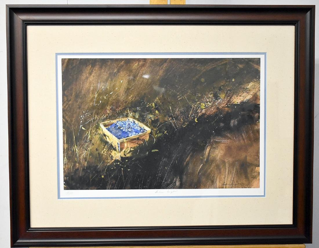 Signed Andrew Wyeth Print, Blueberries