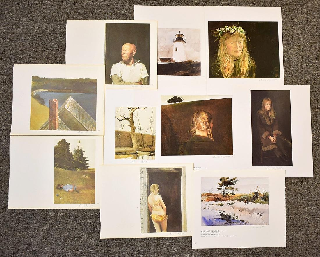 Ten Signed Andrew Wyeth Bookplate Prints
