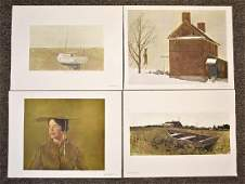Four Signed Andrew Wyeth Bookplate Prints
