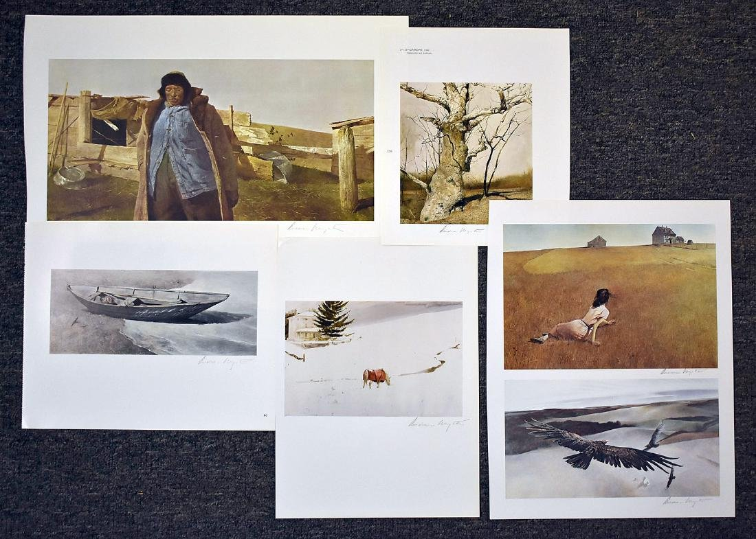 Six Signed Andrew Wyeth Bookplate Prints