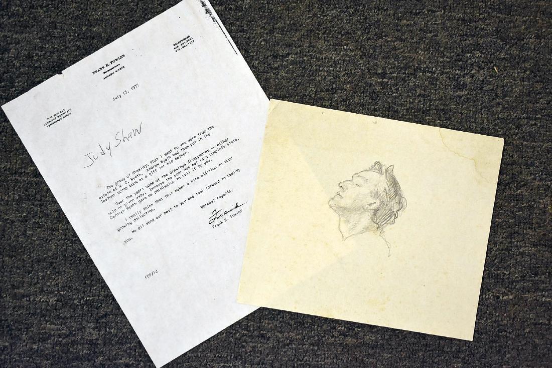 Attrib. Andrew Wyeth. Pencil Sketch, Portrait