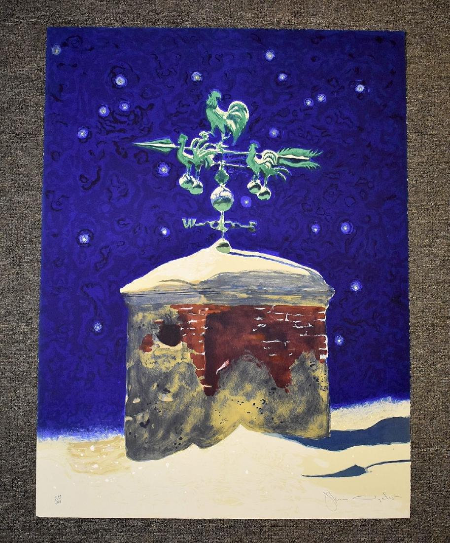 Signed Jamie Wyeth Print, Winter Chimney