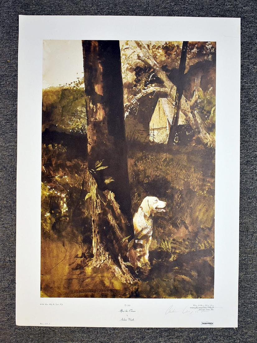 Signed Andrew Wyeth Print, After The Chase