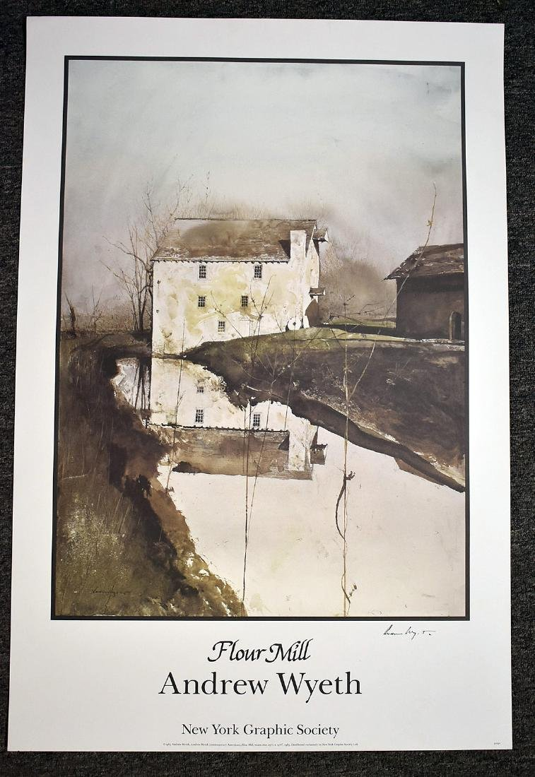 Signed Andrew Wyeth Print, Flour Mill