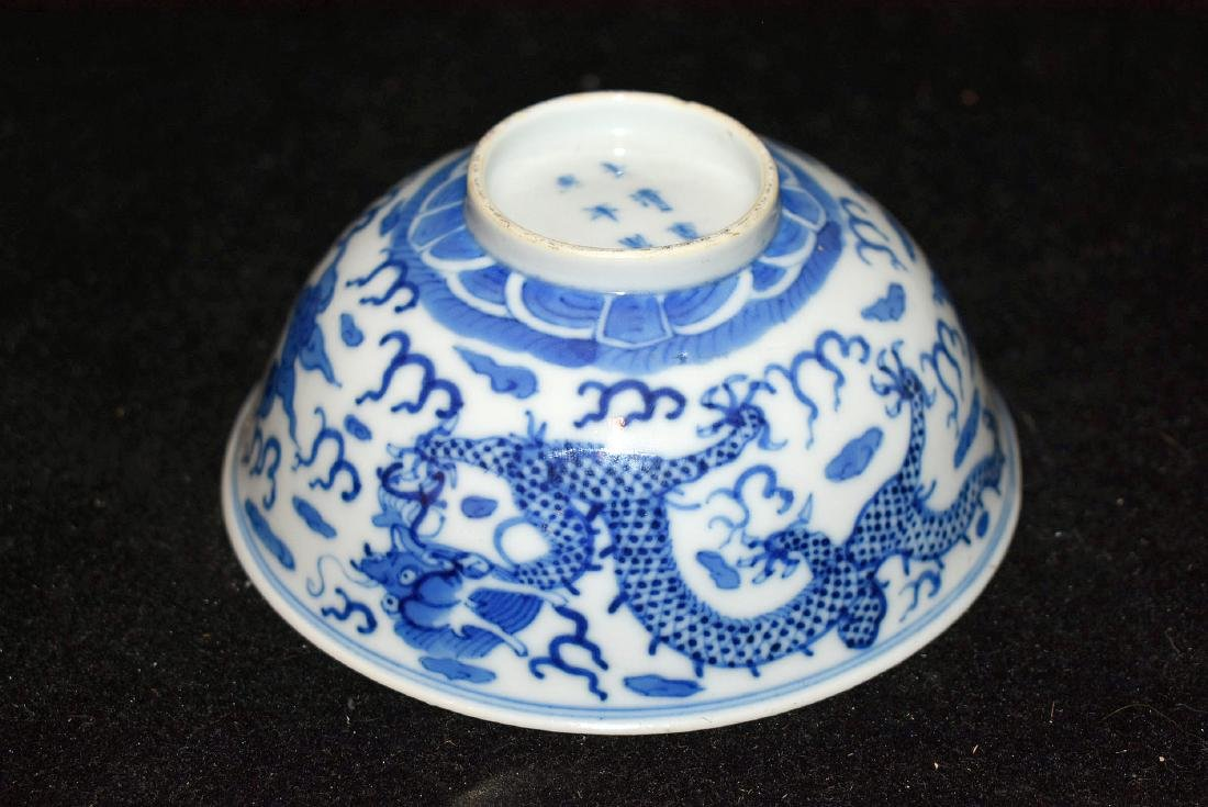 Chinese Blue and White Porcelain Dragon Bowl - 4