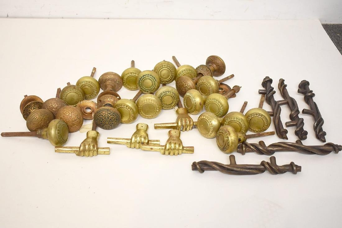 Grouping of Brass and Iron Door Hardware