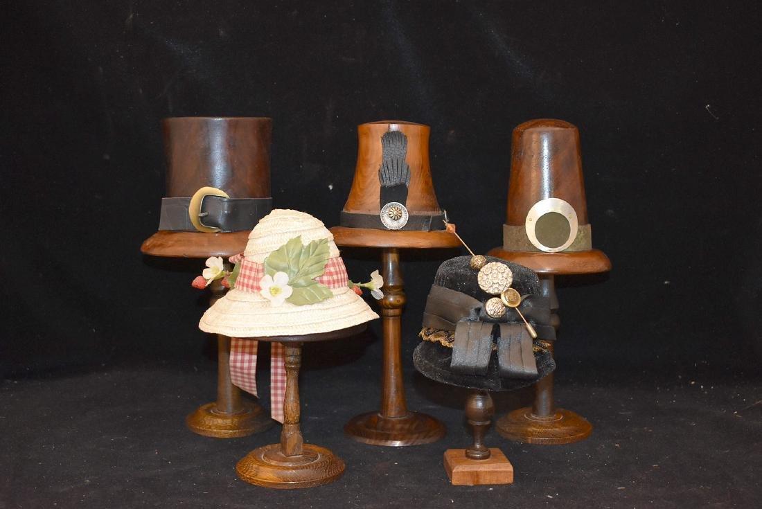 Five Wood Doll Hat Blocks