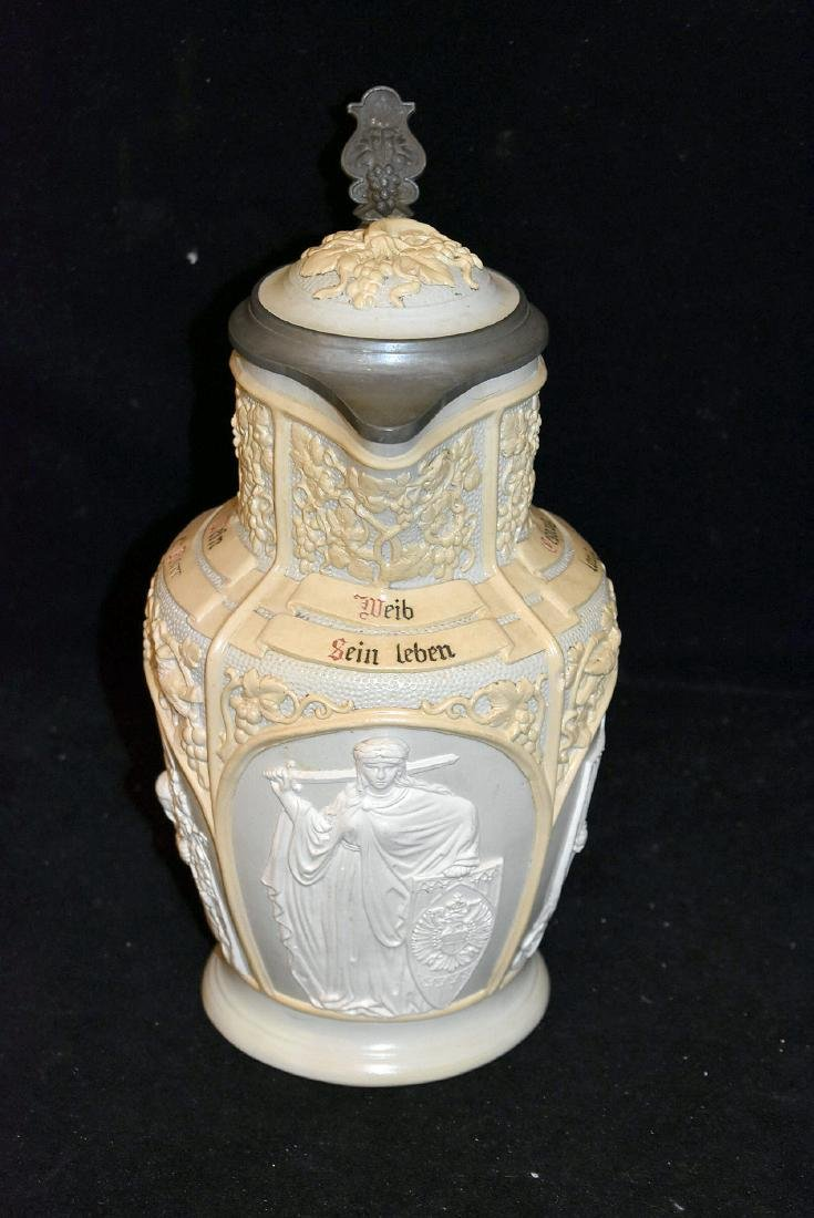 Mettlach Covered Relief Pitcher