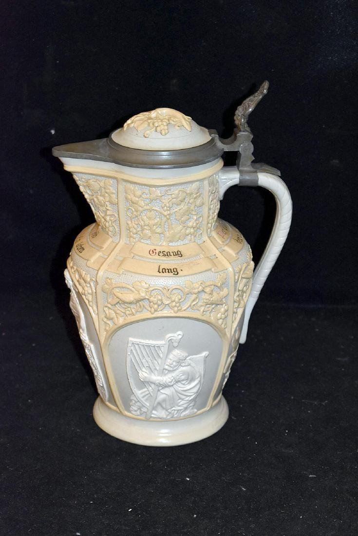 Mettlach Covered Relief Pitcher - 2